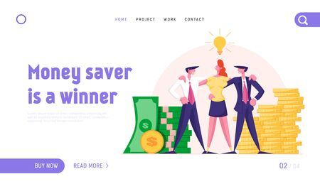 Joyful Managers Team Website Landing Page. Business People Stand Embracing at Huge Piles of Money with Glowing Lamp above Heads. Teamworking Group Web Page Banner. Cartoon Flat Vector Illustration
