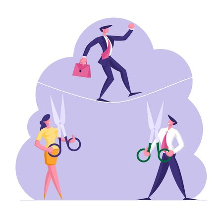 Business Man Trying to Cross an Obstacle in Balance on Rope while His Opponents Businessman and Businesswoman Cut it with Scissors Want him to Fall Down. Business Risk Cartoon Flat Vector Illustration