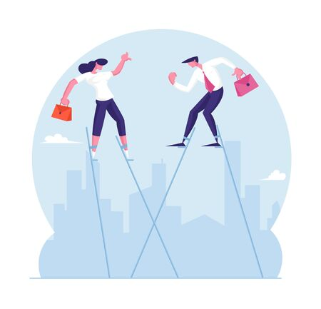 Businessman and Businesswoman Walking Balancing on Stilts at Cityscape Background. Business People Trying to Survive in Crisis Situation Rising above of Circumstances Cartoon Flat Vector Illustration