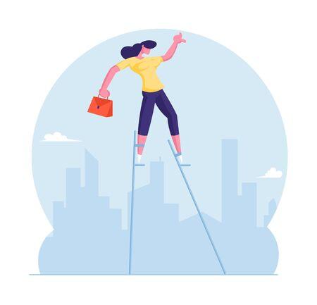 Concept de solution d'entreprise risquée. Femme d'affaires avec porte-documents en équilibre sur pilotis à City Skyline. Risque et défi d'avancement de solution créative dans la vie d'entreprise. Illustration vectorielle plane de dessin animé
