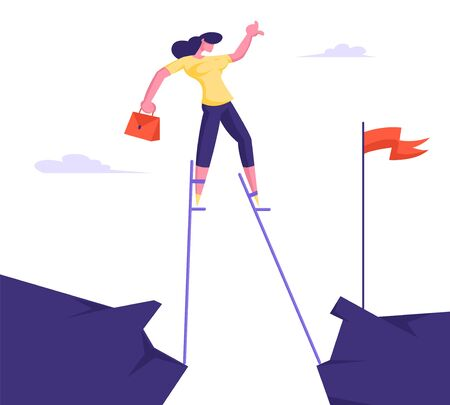 Business Woman Overcome Abyss Going by Stilts Trying to Reach Red Flag on other Side of Cliff. Girl Manager Businesswoman Challenge Social Climber Careerist Reach Goal Cartoon Flat Vector Illustration