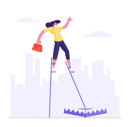 Risky Management and Business Risk Concept. Businesswoman Balancing on Stilts Step Directly into Trap on Ground on City Skyline. Office Employee in Dangerous Situation Cartoon Flat Vector Illustration