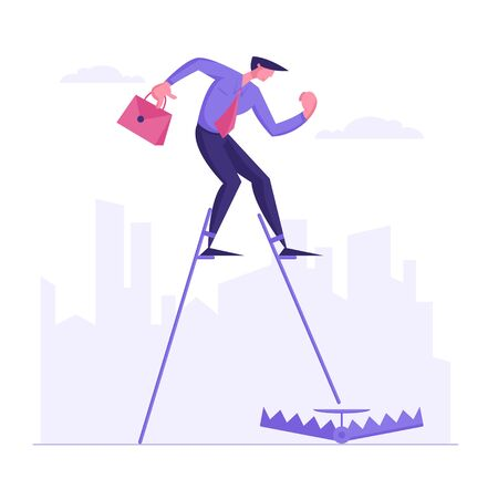 Businessman in Formal Suit with Briefcase Walking on Stilts Step to Trap on Ground. Inexperienced Business Man Character Trying to Avoid Problem or Searching Solution. Cartoon Flat Vector Illustration