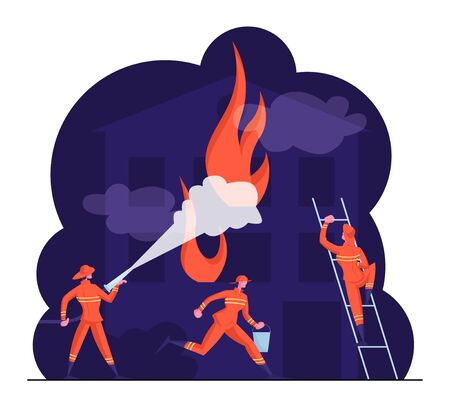 Fire Fighters Male Characters in Uniform on Ladder Spraying Water from Hose. Group of Firemen Fighting with Blaze Working as Team Fight with Big Fire at Burning House Cartoon Flat Vector Illustration Çizim