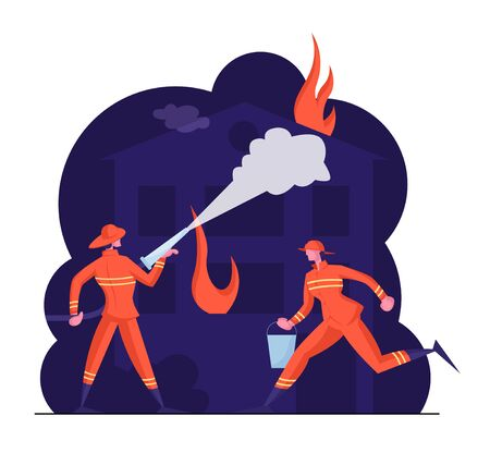 Brave Male Characters Team in Firefighters Uniform and Hats Extinguish with Big Fire Spraying Water from Hose. Couple of Firemen Fighting with Blaze at Burning House. Cartoon Flat Vector Illustration