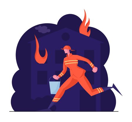 Extreme Profession Job Fireman at Fire Fighter Uniform and Helmet Carrying Bucket with Water in Hands for Watering Burning House. Firefighter Ready to Fight with Blaze Cartoon Flat Vector Illustration