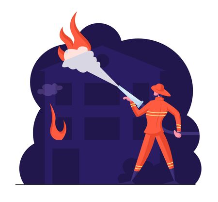Brave Fireman Spraying Water from Hose Fighting with Blaze at Burning House. Male Character in Firefighters Uniform and Hat Extinguish Big Fire. Dangerous Profession Cartoon Flat Vector Illustration Stock Illustratie