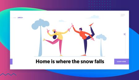Male Female Characters Skaters Website Landing Page. Happy People Performing Leisure Outdoor Activities at Winter Park Figure Skating on Ice Rink Web Page Banner. Cartoon Flat Vector Illustration