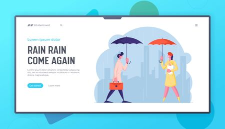 City Passers-by at Wet Rainy Autumn or Spring Weather Website Landing Page. Happy Drenched People with Umbrella Walk in Rain, Cold Water Pour from Sky Web Page Banner. Cartoon Flat Vector Illustration