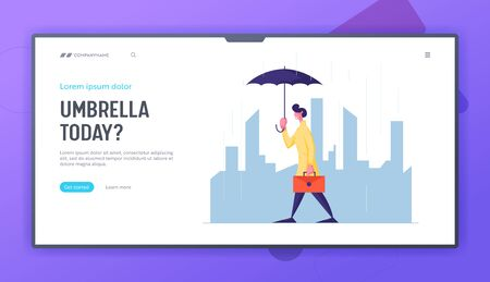 Rainy Autumn Weather Website Landing Page. Young Businessman with Briefcase and Umbrella Walking along Cityscape Background. Meteorology Forecast Web Page Banner. Cartoon Flat Vector Illustration Illustration