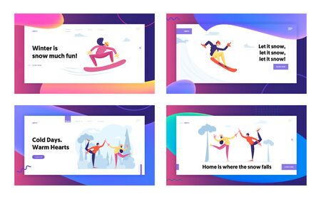 Christmas Holidays Spare Time Amusement Website Landing Page Set. People Snowboarding and Skating Having Fun on Ski Resort Going Downhills and Ice Rink Web Page Banner Cartoon Flat Vector Illustration 일러스트