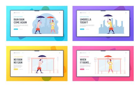 Spring Autumn Rain Meteorology Forecast Website Landing Page Set. Man with Briefcase Woman with Bread Waiting Transport with Umbrellas on Bus Station Web Page Banner. Cartoon Flat Vector Illustration