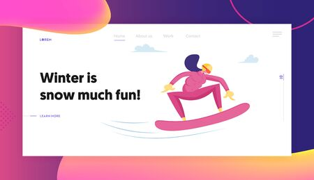 Sportswoman Snowboarding Website Landing Page. Travel Activity Entertainment. Happy Girl Riding Snowboard by Snow during Winter Time Season Holidays Web Page Banner. Cartoon Flat Vector Illustration