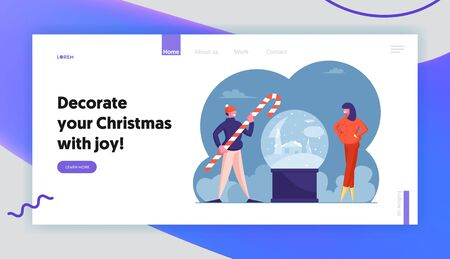 Winter Holidays and Christmas Accessories Website Landing Page. Man and Woman Stand at Huge Xmas Crystal Ball. Male Character Holding Candy Cane Web Page Banner. Cartoon Flat Vector Illustration