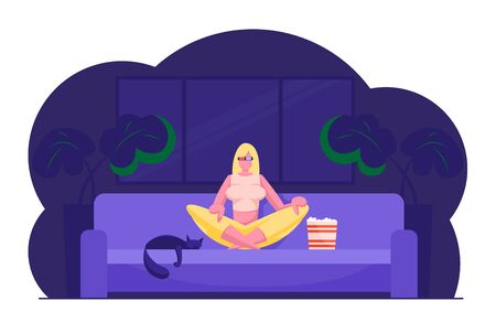 Woman Watching Movie and Relaxing at Home. Young Girl in 3d Glasses Sitting in Lotus Posture on Sofa with Cat Eating Popcorn and Watching Tv at Night in Living Room. Cartoon Flat Vector Illustration