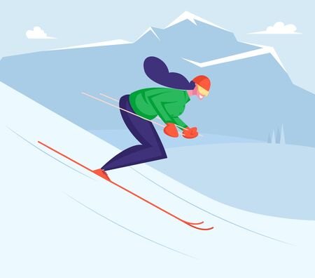 Girl Riding Downhills by Skis Having Wintertime Fun and Leisure Time. Winter Sports Activity and Spare Time. Young Woman Skiing on Mountains Resort. Active Lifestyle Cartoon Flat Vector Illustration