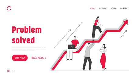 Investment Growth Website Landing Page.Business Team Working and Holding Huge Growing Arrow, Leader Climbing on Top. Businesspeople Teamwork Web Page Banner. Cartoon Flat Vector Illustration, Line Art 向量圖像