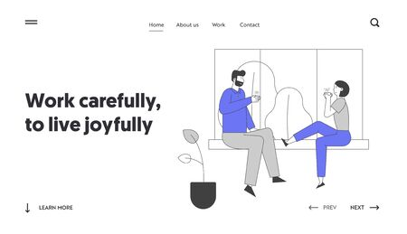 Love Leisure Family Sparetime Day Off Website Landing Page. Young Loving Couple Sitting on Windowsill Drinking Tea Together, Weekend Evening Web Page Banner. Cartoon Flat Vector Illustration, Line Art 일러스트