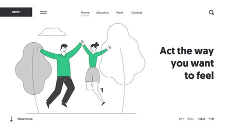 Happy Loving Couple Sparetime Website Landing Page. Cheerful Man and Woman Spend Time Together Rejoice and Jumping with Hands Up Outdoors Web Page Banner. Cartoon Flat Vector Illustration, Line Art Standard-Bild - 133154811