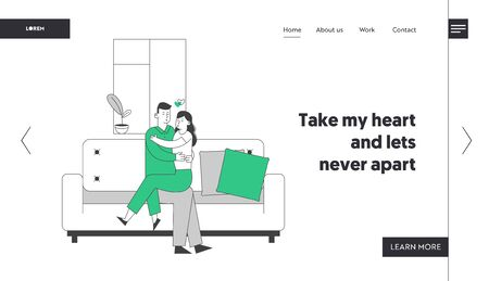 Loving Couple Hugging Sitting on Couch at Home Website Landing Page. Romantic Relations. Man Woman Sitting on Sofa. Love and Dating Leisure Web Page Banner. Cartoon Flat Vector Illustration, Line Art Reklamní fotografie - 133157347