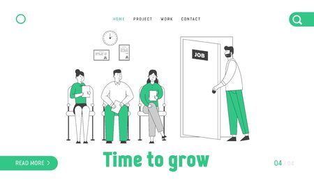 Applicants with Cv Documents Hiring Work Website Landing Page. People Wait Job Interview Sitting in Office Lobby. Worried Candidate Enter Door Web Page Banner Cartoon Flat Vector Illustration Line Art