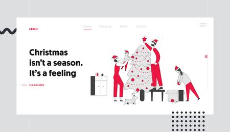 Happy Family Decorate Christmas Tree at Home Website Landing Page. Father Put Star on Top of Fir-Tree, Mother, Daughter Son and Dog Helping. Web Page Banner. Cartoon Flat Vector Illustration, Line Art Banque d'images - 133154708