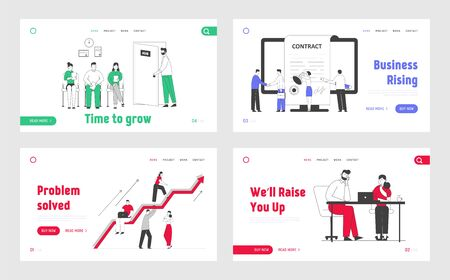 Business People Hiring Job and Working Website Landing Page Set. Applicants Searching Work in Office, Teamworking Employees, Contract Signing Web Page Banner Cartoon Flat Vector Illustration, Line Art