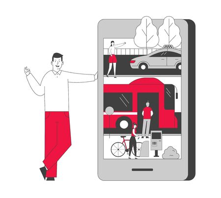 Smart Application for Ordering City Transport Concept. Young Man Stand at Huge Smartphone with Taxi Bus and Rent Bike Transportation on Screen. Mobile App Cartoon Flat Vector Illustration, Line Art