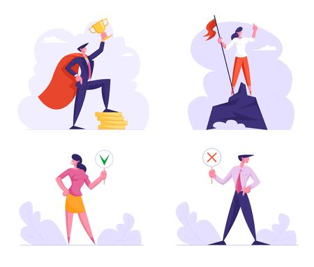 Business Success and Politics Voting Set. Businesspeople Stand on Top of Rock and Pedestal with Trophy, Goal Achievement, Characters with Yes No Banners for Vote. Cartoon Flat Vector Illustration 일러스트
