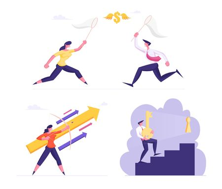 Set of Businesspeople Catching Money with Net. Businesswoman Shoot with Bow Rising Arrow, Man with Huge Key Climbing Upstairs to Keyhole. Career Success Development. Cartoon Flat Vector Illustration