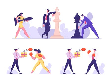 Business Strategy and Unfair Fighting Set. Businesspeople Playing Huge Chess. Businessman and Businesswoman Boxing Fight. Competition and Challenge in Office Work Cartoon Flat Vector Illustration 일러스트