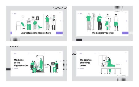 Client in Dentist Office, Disabled People, Patient Lying t in Hospital Chamber Website Landing Page Set. Senior People Waiting Appointment in Hall. Web Page Banner. Cartoon Flat Vector Illustration