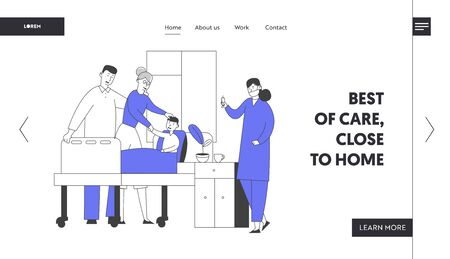 Hospital Consultation Diagnosis Treatment Website Landing Page. Doctor and Nurse in Chamber Visiting Patient Illustration