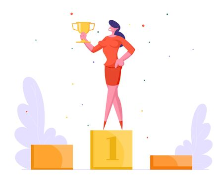 Successful Businesswoman in Elegant Dress Posing with Golden Goblet on First Place of Winners Pedestal Winner Business Illustration