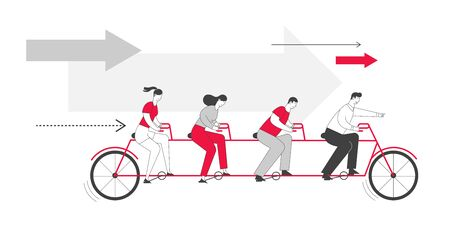 Business Team Riding Tandem Bicycle. Businessmen and Businesswomen Characters on Bike Cooperation Leadership Illustration