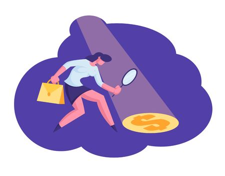 Businesswoman Searching for Source of Profit and Money Wealth Looking through Magnifier Glass on Dollar sign in Light Ray on Floor. Earning and Benefit Idea Concept. Cartoon Flat Vector Illustration Stock Illustratie