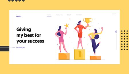 Office Workers Victory, Business Growth Website Landing Page. Happy Business Women Colleagues Posing on Winners