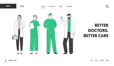 Hospital Healthcare Staff at Work Website Landing Page. Doctors and Nurses Stand in Row Speaking and Communicating
