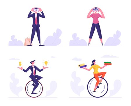 Set of Business people. Business Man and Woman Watching to Binoculars, Riding Monowheel with Folders Files, Dollar and Lightbulb in Hands. Business Vision, Challenge.