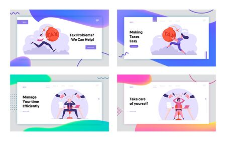 Taxation Payment and Career Burnout Website Landing Page Set. Businesspeople Holding Bomb with Tax Inscription Ilustração