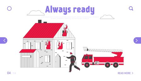 Firefighter Fight with Blaze Landing Page. Fireman Carrying Bucket with Water in Hands for Watering Burning House 일러스트