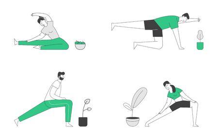 Conjunto de actividades deportivas de personajes masculinos y femeninos. Personas que hacen deporte, ejercicio de estiramiento, entrenamiento físico