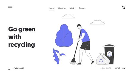 Ecology Protection Website Landing Page. Man Volunteer Sweeping Ground in Park Collecting Trash into Bags and Litter Bin