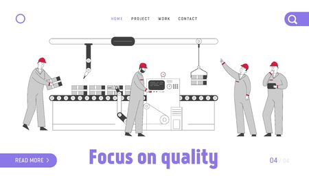 Smart Factory Website Landing Page. Robots Hands and Workers Working on Assemble Line with Production. Conveyor Belt Automation Process Web Page Banner. Cartoon Flat Vector Illustration, Line Art