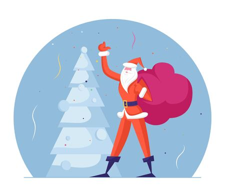 Slim Santa Claus in Red Traditional Costume Carry Sack with Gifts Waving Hand at Decorated Fir Tree. Winter Season Holidays Merry Christmas and Happy New Year Wishes. Cartoon Flat Vector Illustration