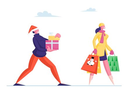 Happy Man in Santa Hat Carry Gift Boxes Wrapped with Bow, Woman with Festive Paper Bags. People Prepare Presents for Family and Friends on Winter Holidays Celebration. Cartoon Flat Vector Illustration 일러스트