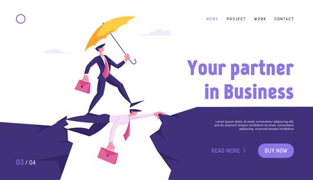 Strongest will Survive Concept Website Landing Page. Business Man with Umbrella Running over Abyss by Head of Colleague, Businessman Crisis Insurance Web Page Banner. Cartoon Flat Vector Illustration