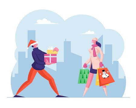 Winter Holidays Shopping. Happy People Carry Gift Box and Paper Bags with Presents. Male and Female Characters Hurry for Christmas Celebration with Family and Friends. Cartoon Flat Vector Illustration 일러스트