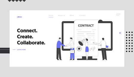 Business People Make Deal Agreement Website Landing Page. Characters Standing at Pc Screen Shaking Hands, Checking and Signing Contract Web Page Banner. Cartoon Flat Vector Illustration, Line Art Illustration