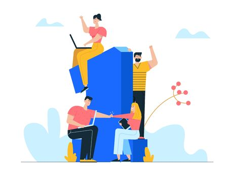Business Team Project Success. Group of People with Gadgets Stand at Huge Number One Celebrate Victory Winners Prize and Award. Teamworking and Company Growth Concept. Cartoon Flat Vector Illustration
